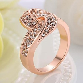 Ericdress Rose Gold Geometry Design Diamante Ring