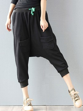 Ericdress Pleated Lace-Up Loose Baggy Pants