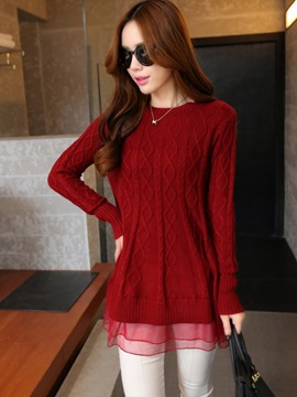 Ericdress Loose Wave Cut Mesh Patchwork Knitwear