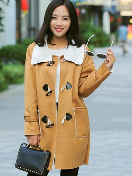 Ericdress Straight Color Block Horn-Button Coat