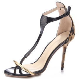 Ericdress Leopard Patchwork Thong Heel Covering Stiletto Sandals