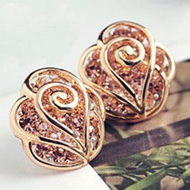 Ericdress Golden Flower Rhinestone Inlaid Earrings