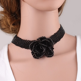 Ericdress Rose Decorated Black Beading Choker Necklace