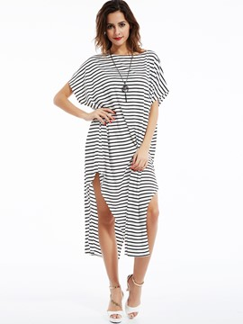 Slash Neck Batwing Sleeves Striped Day Dress