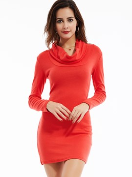 Ericdress Plain Slim Pullover Sweater Dress