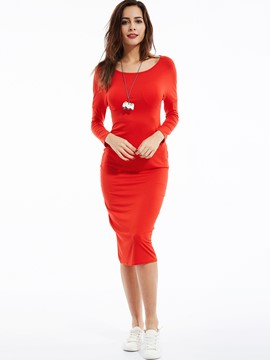 Ericdress Plain Round Neck Bodycon Dress