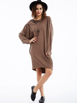 Ericdress Patchwork Plain Loose Round Neck Casual Dress