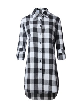 Ericdress Plaid Singel-Breasted Long Blouse