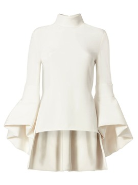 Ericdress Plain Stand Collar Flare Sleeves Blouse