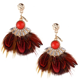Ericdress Ethnic Style Feather Pendant Earrings