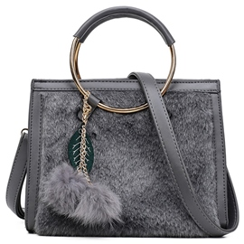 Ericdress Casual Fuzzy Ball Circle Handle Handbag