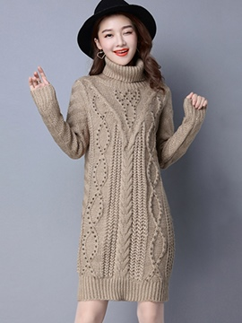 Ericdress Turtleneck Weave Bead Knee-Length Sweater Dress