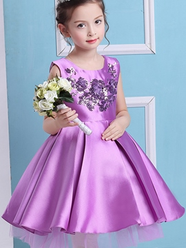 Ericdress Floral Embroidery Pleated Princess Girl's Dress