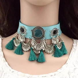 Ericdress Tassels Decorated Velvet Choker Necklace