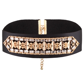 Ericdress Gothic Rhinestone Decorated Leather Choker Necklace