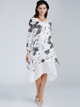 Ericdress Patchwork Asymmetric Round Neck Hand Painted Casual Dress