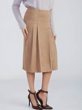 Ericdress Plain Knee-Length Pleated Skirt