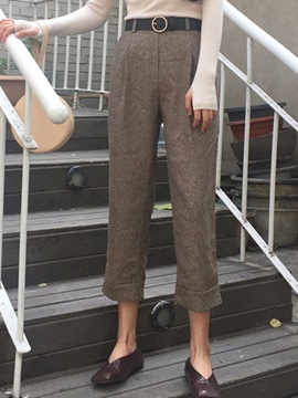 Ericdress Solid Color High-Waist Thick Loose Pants