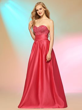 Ericdress Sweet A Line Sweetheart Lace Applique Floor Length Long Prom Dress