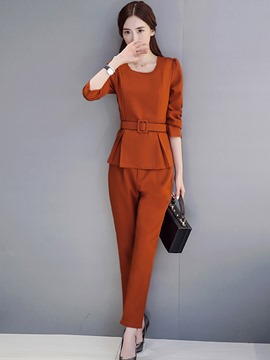 Ericdress Pleated Long Sleeve Belt Jecket Pants Suit