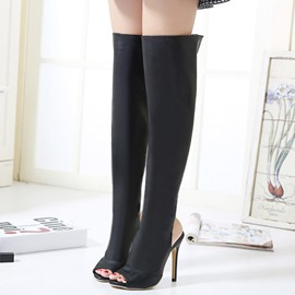 Ericdress Fashion PU Peep Toe Backless Thigh High Boots