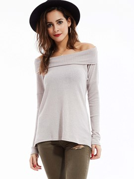 Ericdress Plain Slim Slash Neck Knitwear