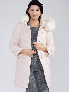 Ericdress Plain Horn-Button Hooded Coat