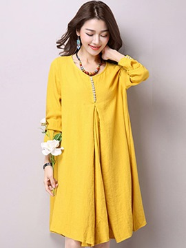 Ericdress Mori Girl Button Patchwork Pleated Loose Casual Dress