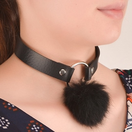 Ericdress Pom-Pom Design Leather Choker Necklace