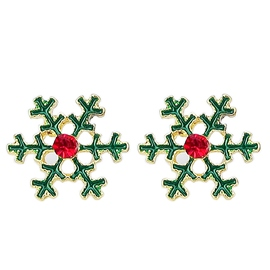 Ericdress Green Snowflake Delicate Stud Earrings