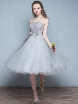 Ericdress Sweet Short A Line Strapless Tea Length Prom Dress