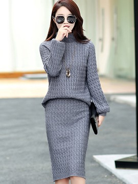 Ericdress High Neck Sweater Bodycon Suit