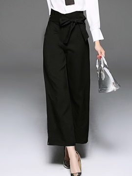 Ericdress Solid Color Lace-Up High-Waist Loose Pants