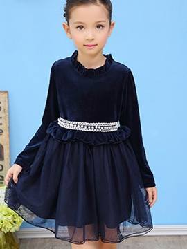 Ericdress Stand Collar Bead TUTU Girl's Long Sleeve Dress