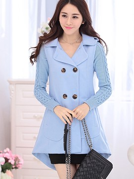 Ericdress Solid Color Double-Breasted Patchwork Trench Coat