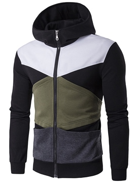 Ericdress Zip Casual Color Block Patched Men's Hoodie