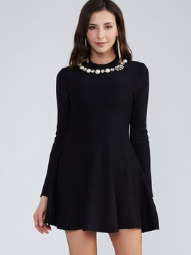 Ericdress Diamond Round Neck Bead A-Line Little Black Dress