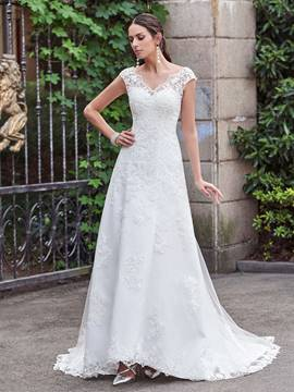 Ericdress Classic V Neck A Line Lace Wedding Dress