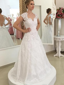 Ericdress Amazing Illusion Neckline Backless A Line Wedding Dress