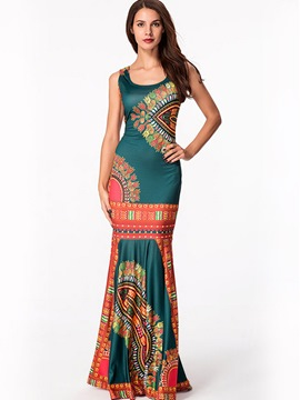 Ericdress Bohemian Print Spaghetti Strap Mermaid Maxi Dress