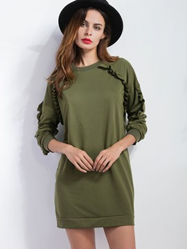 Ericdress Loose Solid Color Frill Hoodie