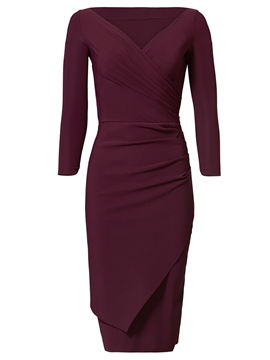 Ericdress Plain V-Neck Mid-Waist Sheath Dress