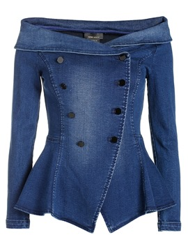 Ericdress Slim Double-Breasted Slash Denim Outerwear