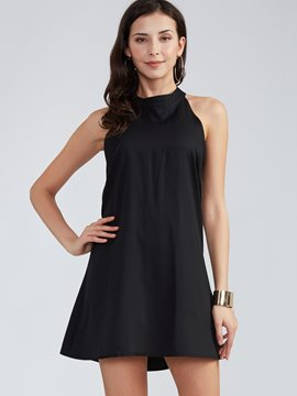 Ericdress Plain Round Neck Backless Little Black Dress