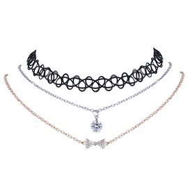 Ericdress Rhinestone Bowknot Stretch Choker Necklace