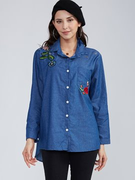 Ericdress Lapel Single-Breasted Flower Embroideried Blouse