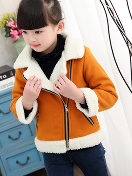 Ericdress Side zipper Notched Lapel Wool Girls Coat