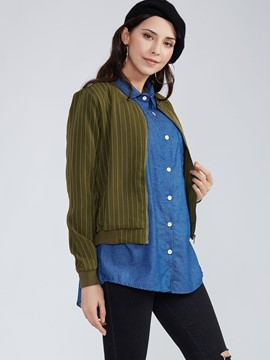 Ericdress Slim Stand Collar Striped Jacket