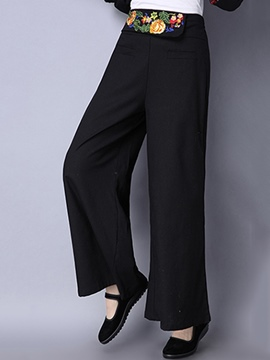 Ericdress Floral Embroidery Wide Legs Pants