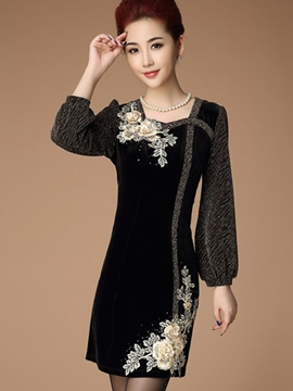 Ericdress Square Neck Appliques Floral Lantern Sleeve Bodycon Dress